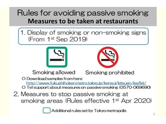 Rules for avoiding passive smoking - Measures to be taken at restaurants